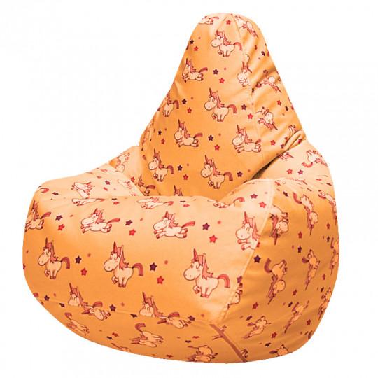 ГРУША-XXXL велюр с принтом EXCLUSIVE единорожки оранжевый