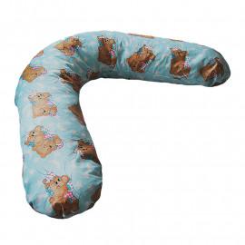 Подушка для беременных БУМЕРАНГ с наволочкой мишки бирюзовый